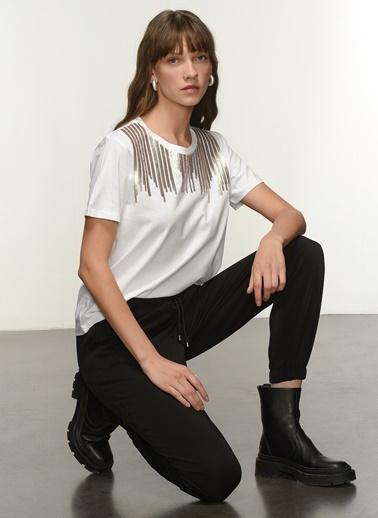 NGSTYLE NGKAW21TS0014 Payet İşlemeli Tshirt Beyaz